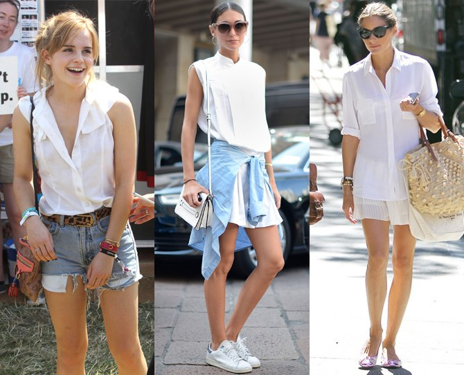 **White shirts never fail**  A crisp white shirt goes with anything – especially the summer weather. Whether it's casual with some denim cut offs or a flippy skirt (a la Emma Watson and Olivia Palermo), dressed up for drinks or sophisticated for the office – make sure you invest in at least one ASAP. Your wardrobe will thank you for it.