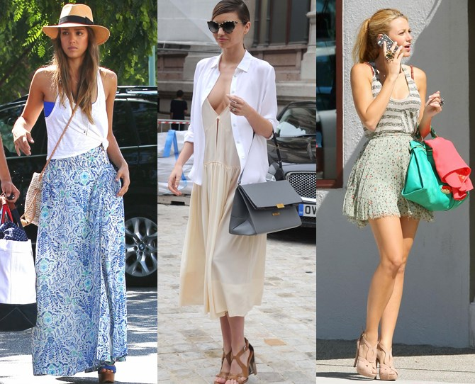 **Any length goes**  Experiment with maxis, midis and minis. Just pick your hem according to your mood/your wardrobe/the fuzziness of your legs! Blake Lively and Jessica Alba prove that a simple tank (knotted or tucked) never fails as a casual pairing, or for a bit more glam, channel Miranda Kerr with a white shirt (cleavage optional).