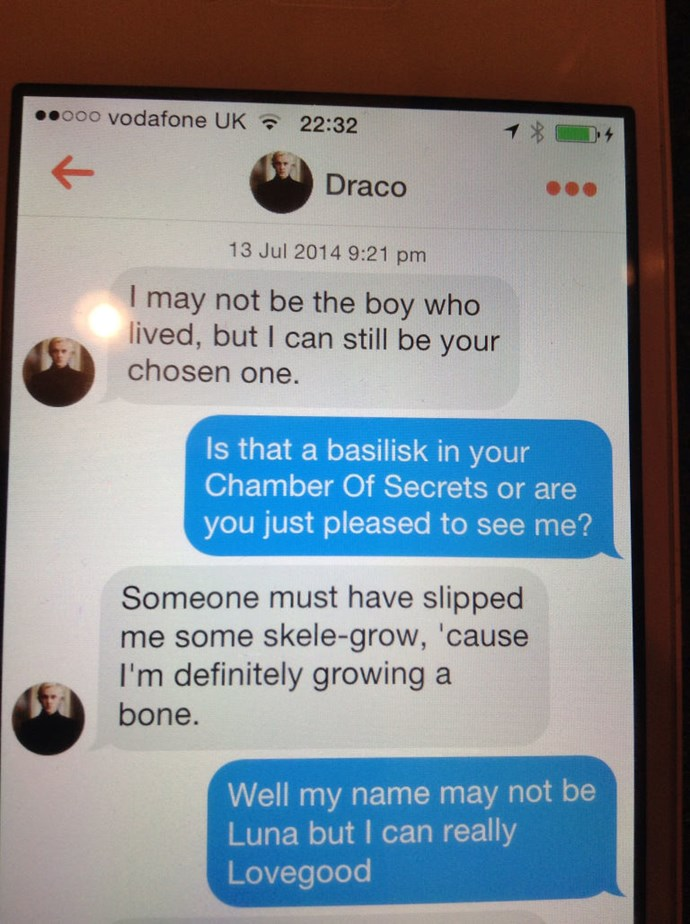 Some wizarding GENIUS is pretending to be Draco Malfoy on Tinder, and he is spitting some serious game. In the form of Harry Potter puns and innuendo, obviously - the key to every woman's heart.