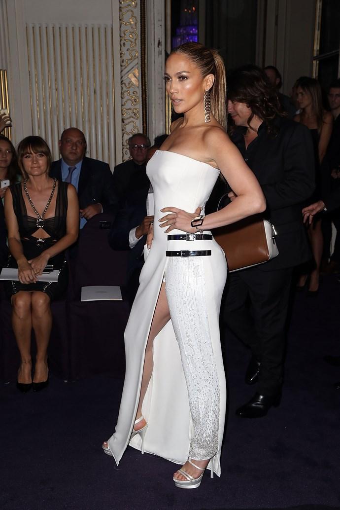 Imagine if anyone else tried to rock a half-pants-half-dress creation? IMAGINE.