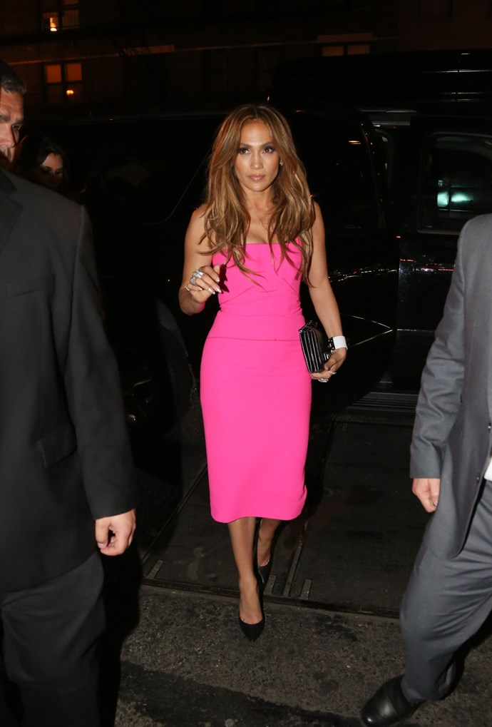 Hot pink becomes its absolute hottest when adorned on JLo's bod.