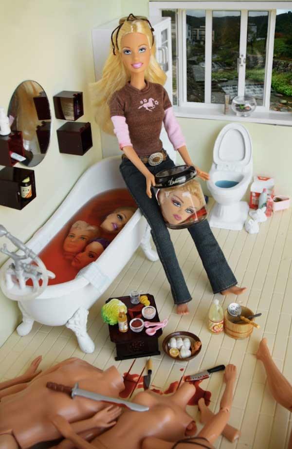 Literal blood bath. Barbie, you sicko!