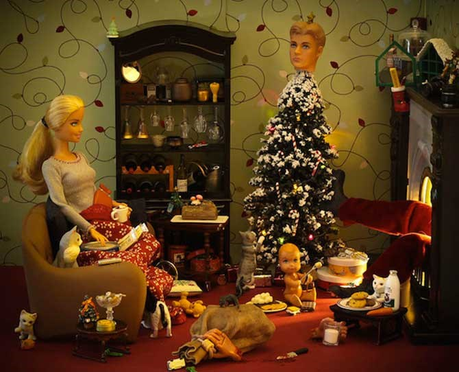 Who needs a star when you've got Ken's head? Way to ruin Christmas, Barbie. Mind you, it doesn't look like your baby has even noticed.