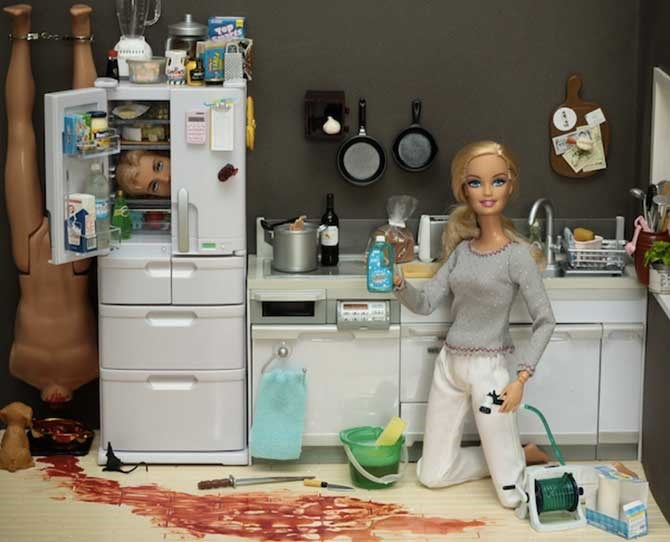 """How to clean your crime scene"" a step-by-step guide by Barbie herself."