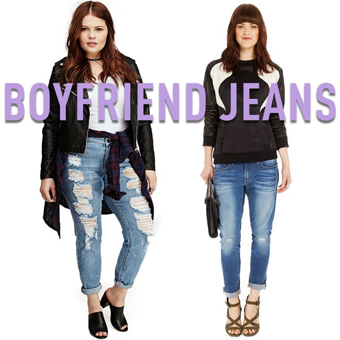 """**2. Boyfriend Jeans** Boyfriend jeans are actually much more universally flattering than skinny jeans or jeggings, because instead of clinging to your every curve, they merely outline the general shape of your legs.The perfect pair of boyfriend jeans should float evenlydown to your legs all the way to yourcalves and only really start to loosen up where your calvestaper down to your ankles. Make sure to cuff the bottoms so that the narrowest part of your ankle is exposed for them most flattering look. *[Distressed Boyfriend Jean](http://rstyle.me/n/uz5aavs36