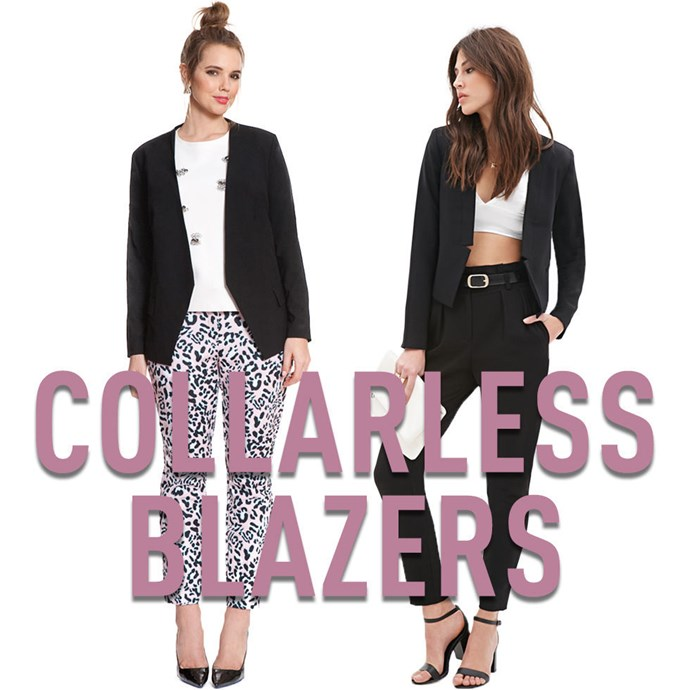 """**3. Collarless Blazers** A traditional blazer can be tricky if you have a largerchest; if it doesn't fit perfectly, the lapels can bend and gape in unflattering ways. Not so with acollarless blazer — the smooth lines allow the front of the jacket to flow over your chest without any awkward bulging. *[Black Blazer](http://rstyle.me/n/v3esdvs36