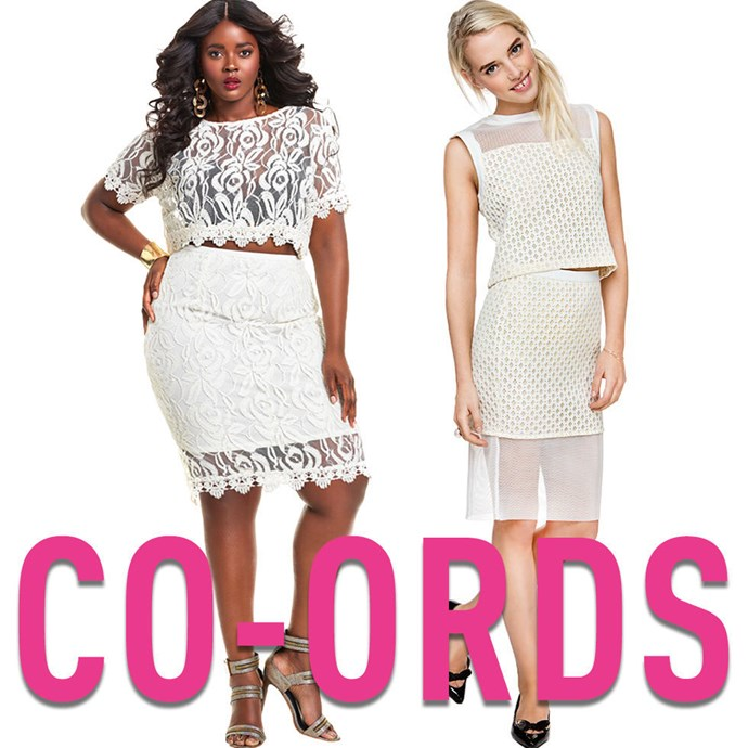 """**4. Co-Ords** Dresses, in general, can be tough if your ownwaist doesn't line up exactly with the waist of your dress. That's what makes co-ords so great — they combinethe style and easy of a dress with the fit versatility of separates. *[White Lace Co-Ord Set](http://monifc.com/clothing/gissel-scallop-lace-plus-size-crop-top-ivory.html), MONIF C, $140; [WhiteTextured Co-Ord](http://rstyle.me/n/tq6hhvs36