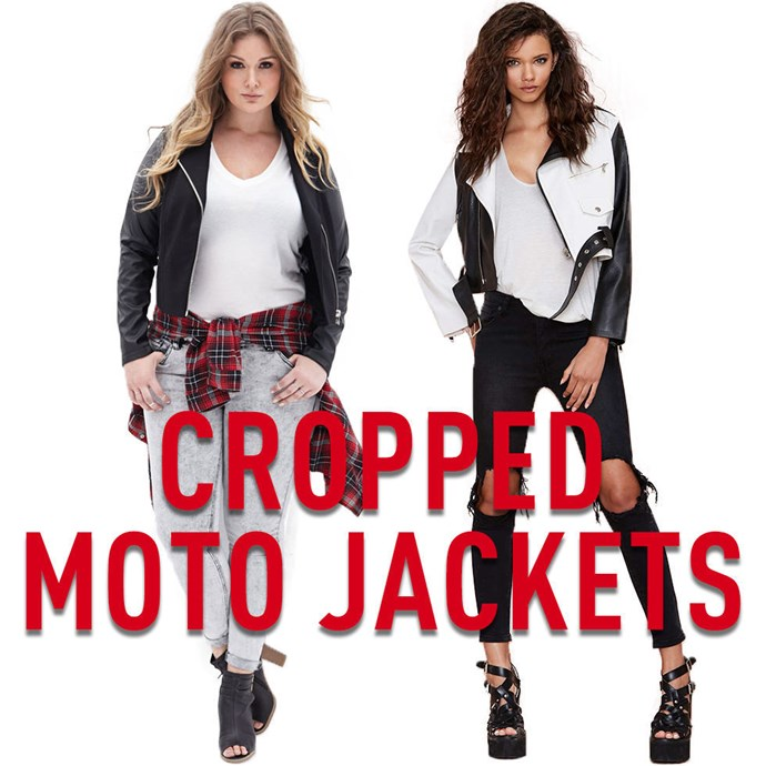 """**5. Cropped Moto Jackets** I've probably said this a thousand times here on Cosmopolitan.com, but, as far as I'm concerned, it can't reallybe over-stated: moto jackets make everyone and every outfit look cool. The perfect moto jacket should becropped so that it ends somewhere around your natural waist. Longer moto jackets can be cool too, but cropped ones make your legs look longer and are ideal if you are trying to balance a large chest. *[Faux Leather Sleeve Moto Jacket](http://rstyle.me/n/v3euhvs36
