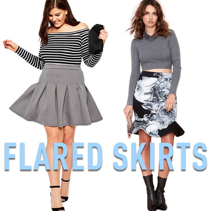 """**7. Flared Skirts** By hugging your body about your hips and then shooting out, flared skirts add minimal volume to the area directly below your waist, while making it impossible to tell exactly where the skirt ends and your hips and legsbegin. If you are on the shorter side, look for skirts that end right where your thigh muscle really starts to taper in towards you knee; it's different on everyone but it's usually aboutfour to sixinches above your knee. *[Grey Scuba Skirt](http://rstyle.me/n/v3ew9vs36