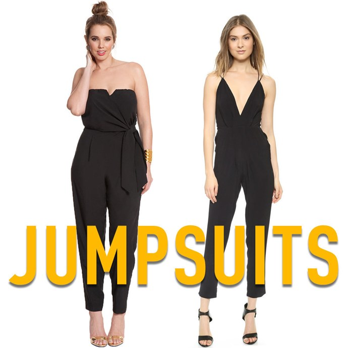 """**9. Jumpsuits** Choose tailored jumpsuits over loose ones with elasticated or gathered waist seams since these can add bulk to your midsection (front and back) and make an otherwise flattering silhouette look dumpy. At the same time, keep in mind thatthe perfect jumpsuit, like the perfect pair of boyfriend jeans, should approximate the shape of your body without actually hugging every nook and cranny. *[Strapless Jumpsuit](http://rstyle.me/n/v3e4dvs36