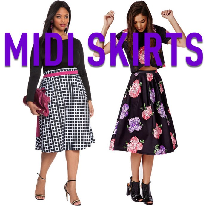 """**10. Midi Skirts** Contrary to popular belief, you don't have to be tall to pull off a midi skirt. As long is it ends right below your knees, at the top of your calf muscles, it will actually elongate your legs.Really. I swear! *[Colorblock](http://rstyle.me/n/v3e5rvs36