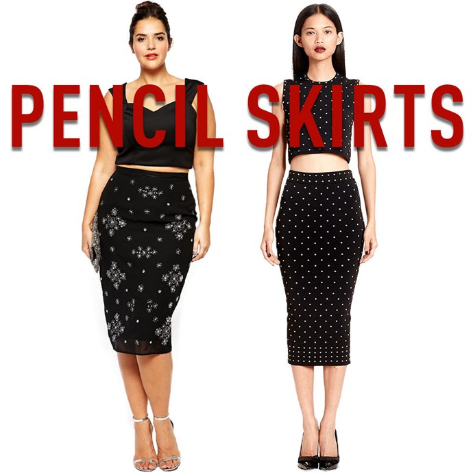 """**11. Pencil skirts** To create the most flattering silhouette possible, consider having your pencil skirt tailored so that it hugs your body above your hips and just skims your legs the rest of the way down as it tapers in. *[Embellished Pencil Skirt](http://rstyle.me/n/v3e6vvs36