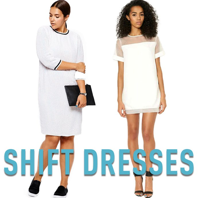 """**12. Shift Dresses** Shift dresses have a somewhat mixed reputation, but the truth is they work on absolutely everyone. The key is making sure that they are big enough to skim over the largest part of your body —be it your chest, hips, or butt —without a lot of excess fabric ruining the smooth, clean lines of the overall silhouette. When shopping for ashift dress, make sure it fits your largest part and then take it to a tailor to have it taken in where necessary. Even if they end up having to take in a lot of fabric, it's a very simple procedure and shouldn't cost much. *[White Sequin Dress](http://rstyle.me/n/v3e7mvs36
