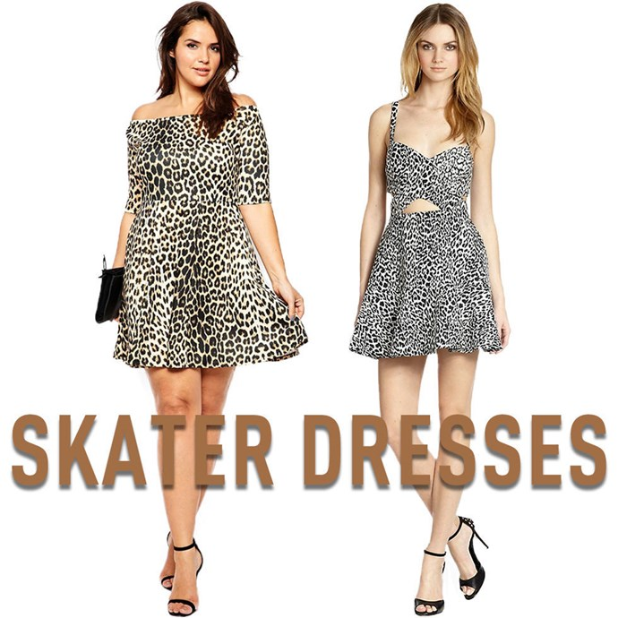 """**13. Skater Dresses** The way these dresses fly out from the waist creates a flattering and feminine shape whether you're curvy or not. *[Off-the-Shoulder Animal-Print Dress](http://rstyle.me/n/v3e8mvs36