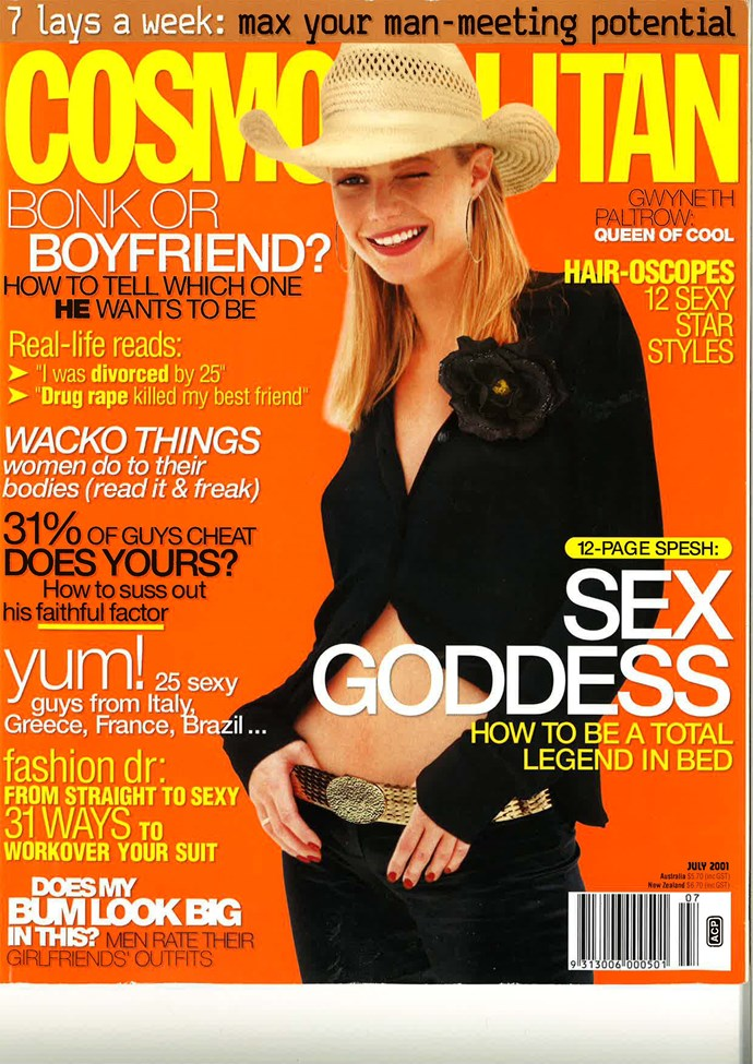 "**July 2001:** Gwyneth Paltrow winking at us from the past because she knew she'd one day be responsible for punking us with [Sex Bark](http://www.cosmopolitan.com.au/celebrity/celebrity-gossip/2015/1/gwyneth-paltrow-shares-her-recipe-for-sex-bark/|target=""_blank"") and [Vagina Steaming](http://www.cosmopolitan.com.au/celebrity/celebrity-gossip/2015/1/gwyneth-paltrow-thinks-you-should-steam-your-vagina/