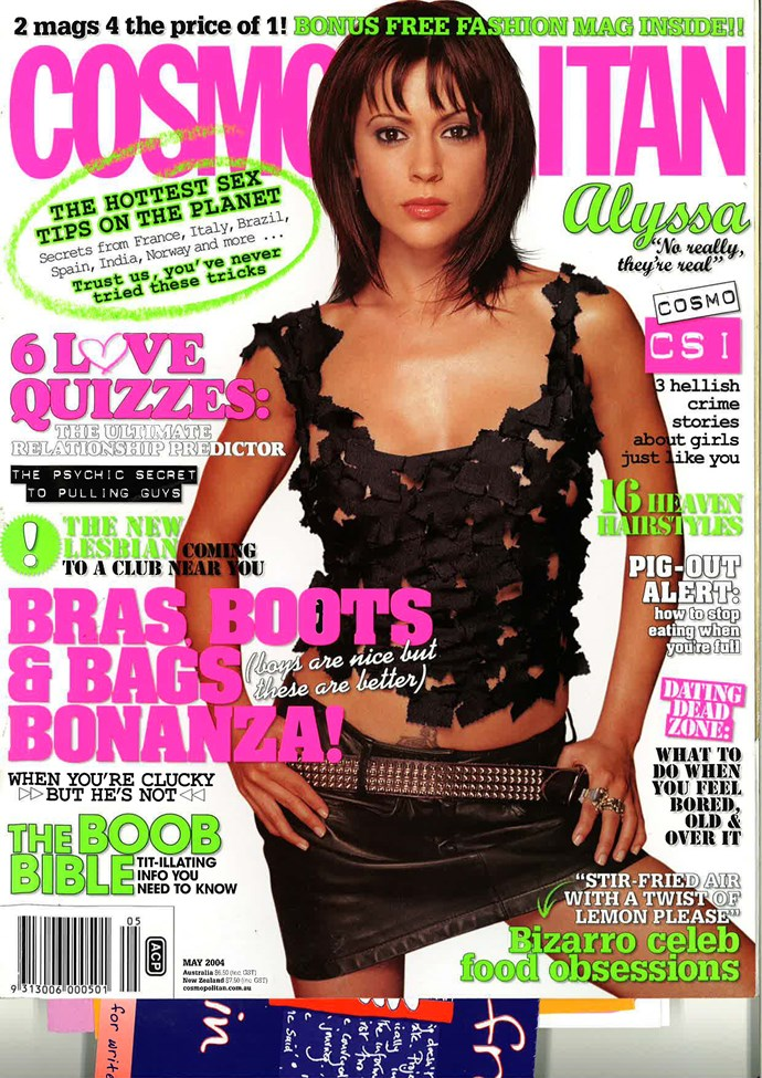 **August 2001:** *Charmed*'s (REMEMBER CHARMED?!) Alyssa Milano was a best-selling cover girl. This issue also urged readers to petition their MP's to overturn legislation that demanded vaginas are Photoshopped in print press.