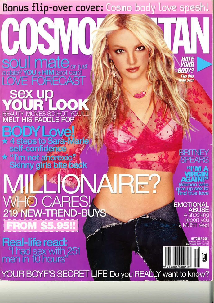 **October 2001:** It's Britney, bitch. From a time so far in the past belt-loops weren't a thing.