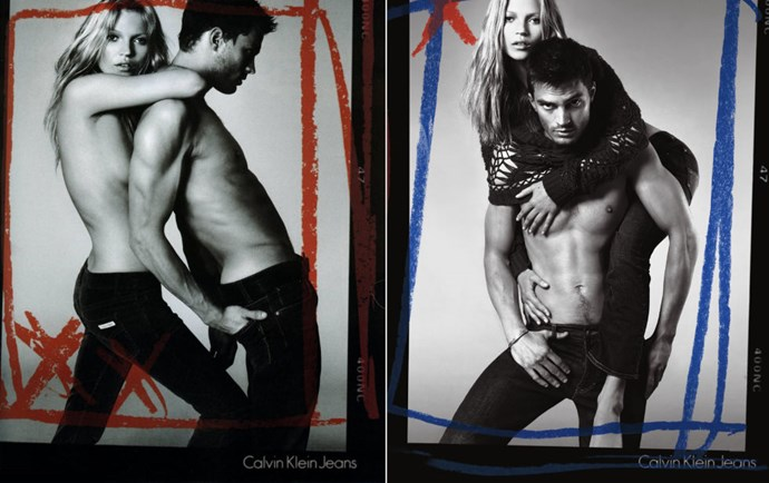 Jamie for Calvin Klein Jeans, 2005. Your eyes are not mistaken. That's Kate Moss posing with/on top of him— because Jamie (and those abs) were that big of a deal in the modelling industry back then.