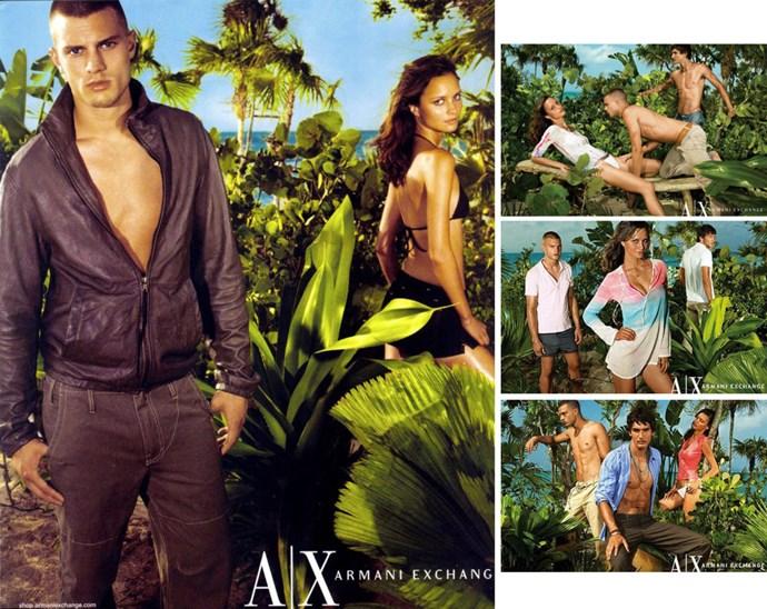 Tropical skinhead Dornan for Armani Exchange, 2002.