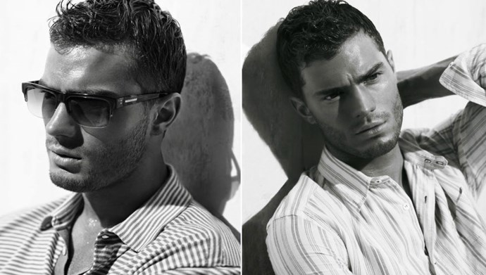 More Jamie for Nicole Farhi. He looks a lot like Ryan Phillippe and we're having such a hot flush over this stubbly jawline. Oh gahd.
