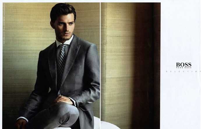 Jamie literally dressed/styled as Christian Greyfor Hugo Boss 2008, before the books even came out. What fashion sorcery is this?!