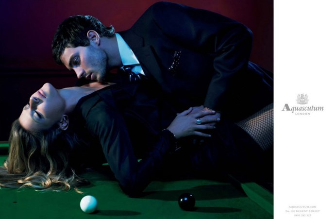 And this is*also*a*Fifty Shades*-style campaign;Dornan posing with Gisele Bündchen for Aquascutum, 2007.