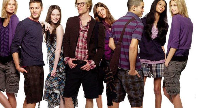 More Jamie for GAP, 2008 (with fellow big name models of the moment, including Coco Rocha, Chanel Iman, and Jeisa Chiminazzo). Those checked cargoshorts are certainly something.