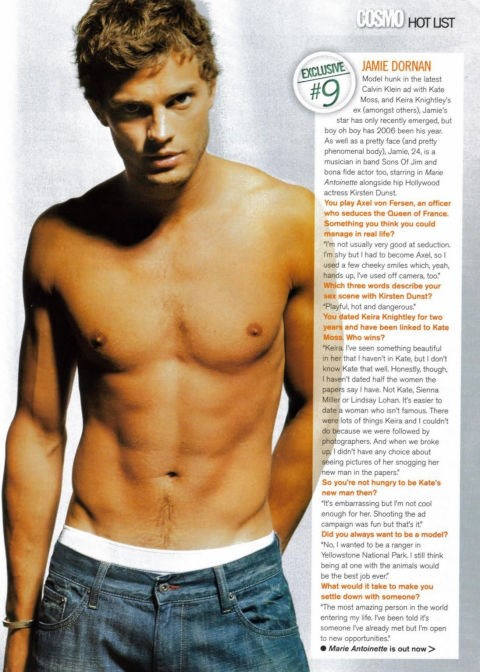 """And last but by no means least, Dornan in *Cosmopolitan* US, 2006.""""The Hot List"""" indeed."""