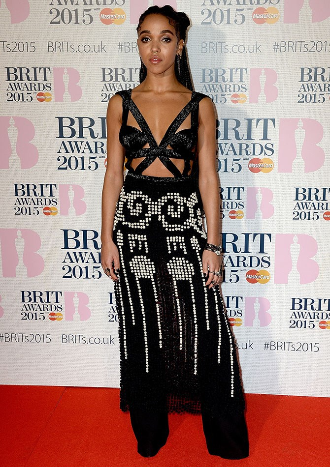 Our new style crush, FKA Twigs brought her A-game to the red carpet with this sparkly and revealing getup.