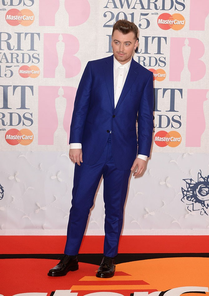 Sam Smith is working the hell out of this cobalt blue suit.