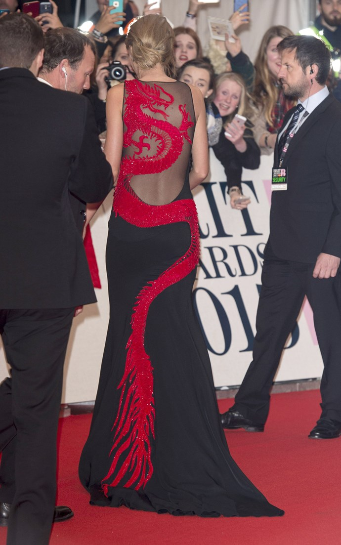 The back of Taylor Swift's oriental dress really must be seen to be believed.