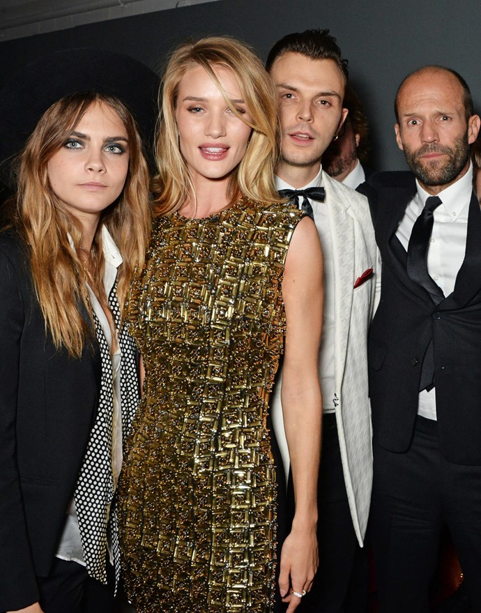 Cara Delevingne, Rosie Huntington-Whiteley, Theo Hurts and Jason Statham are pals. Who knew?