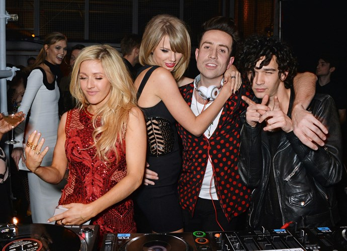 """Ellie Goulding, Taylor Swift, Nick Grimshaw and ([Tay's rumoured flame](http://www.cosmopolitan.com.au/celebrity/celebrity-gossip/2014/12/meet-taylor-swifts-new-rock-n-roll-love-interest-/