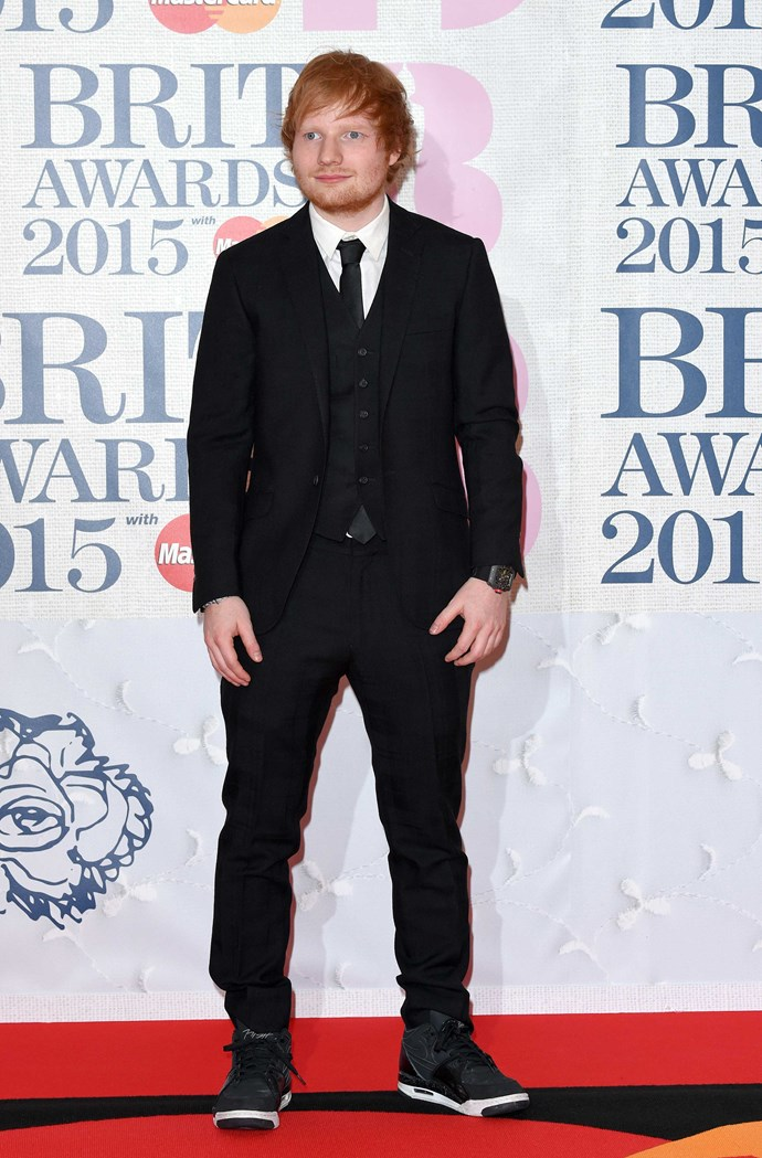 "You all know this guy, right? It's regular, sober Ed Sheeran on the red carpet at the [Brit Awards](http://www.cosmopolitan.com.au/celebrity/red-carpet-looks/2015/2/celeb-style-from-the-brit-awards-2015/|target=""_blank""). By now, you probably know that Ed won TWO awards including British Male Solo Artist and British Album of the Year – which is obviously worthy of a celebration!"