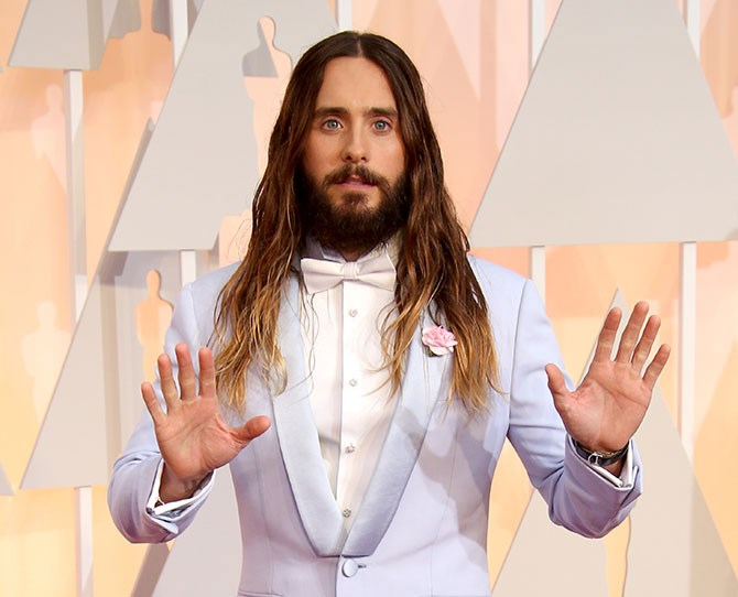 This is the Jared Leto we all know and love. You know, the one with flowing, long, balayage locks.