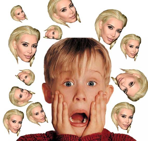 Kevin would much rather face criminals in an unattended home than be flooded with images of Kimmy K's blonde locks.