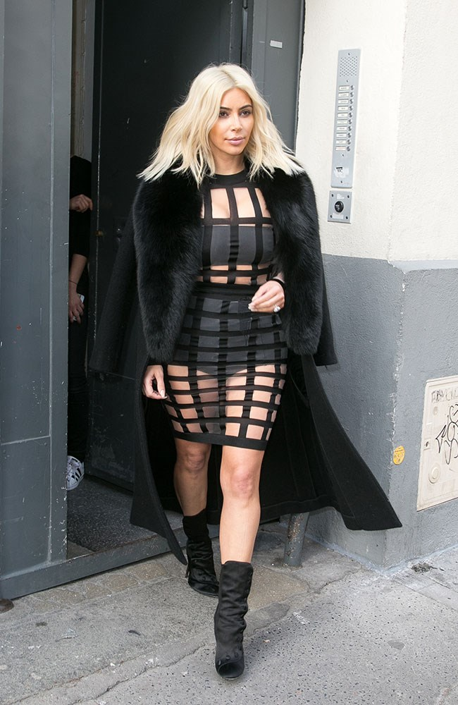 Trust KKW to make granny pants look sexy. We're pretty sure this Balmain cage dress had her name on it from the beginning.