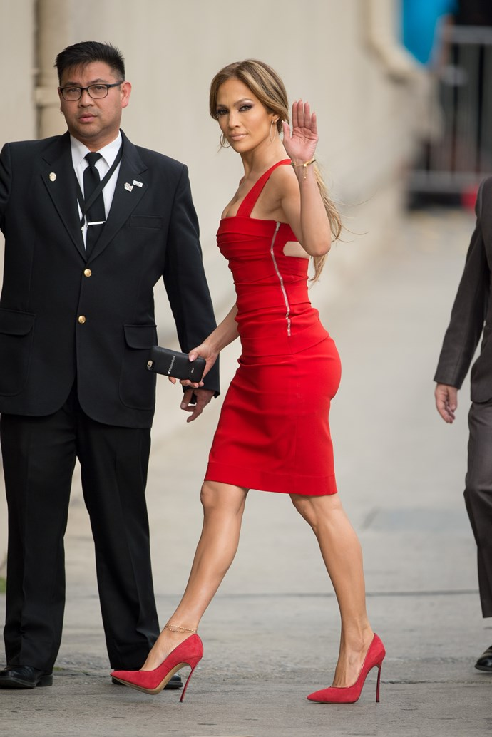 JLo in a tight red dress? We imagine all eyes were on her at *Jimmy Kimmel Live*.