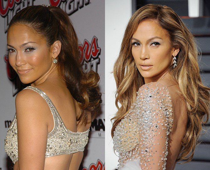 Here the grand master of the sexy back-turned-head-over-shoulder-pose, Jennifer Lopez also comes to master her brows so they're finally in harmony with her face.