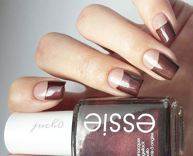 Marsala-meets-moon with this stylin' take on the half-moon look.