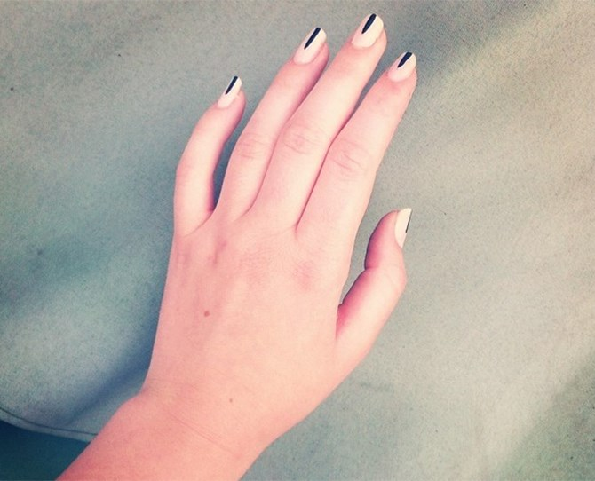 Another designer rocking this look was House of Holland, who waved the flag for this minimalist striped nail.