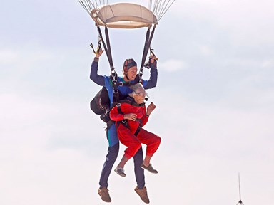 Watch this 100-year-old woman jump out of a plane on her birthday
