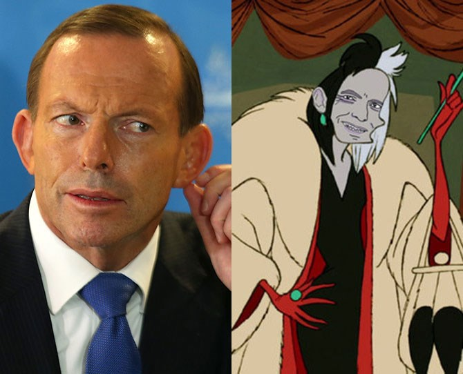 """Poor Tony Abbott. Last week he was the centre of a *South Park* joke, without even realising it, when he [confirmed he liked fish sticks](http://www.cosmopolitan.com.au/health-lifestyle/lifestyle/2015/3/tony-abbott-says-he-likes-fishsticks-just-like-kanye-west/ target=""""_blank"""") and now he's been Photoshopped into a series of Disney villains. Wonder if this will affect opinion polls? Regardless, we can thank Kara Jensen-Mackinnon (a community member over at [*Buzzfeed*](http://www.buzzfeed.com/karaonline/at-3am-the-only-thing-left-to-do-is-photoshop-tony-1d9gs?bffb&utm_term=4ldqphp#.nh2AGR0ae target=""""_blank"""")), for these delightful creations."""