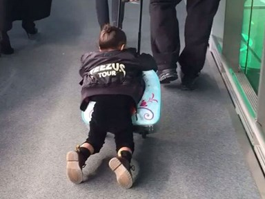 North West really loves her Frozen suitcase