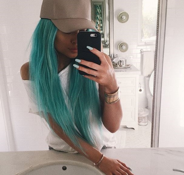 Because nothing says 'festival' like super long extensions and a bright blue dye job, right?