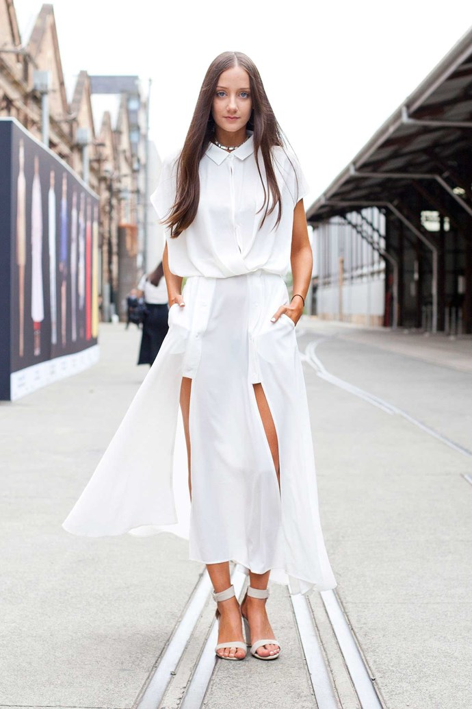 White-on-white layering, still big this season.