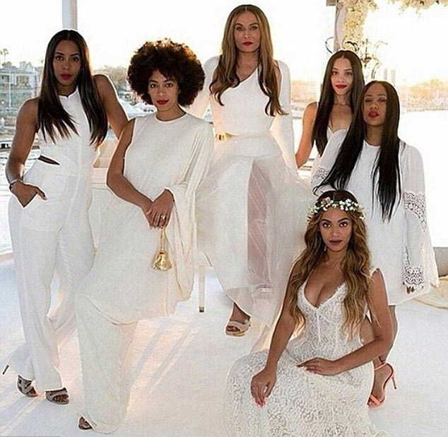 Queen Mother, Tina Knowles got hitched on a yacht off the California coast and naturally Bey once was a bridesmaid. As were Solange, Kelly Rowland and Bey's new step-sister, actress Bianca Lawson. The bridesmaids wore mismatched white outfits, with Bey rocking a flower crown and a whole load of cleavage.