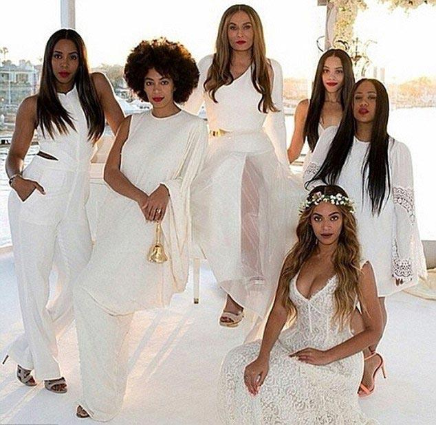 **Beyoncé Knowles** <br><br> The Queen Mother, Tina Knowles got hitched on a yacht off the California coast, and naturally Bey was a bridesmaid. As were Solange, Kelly Rowland and Bey's new step-sister, actress Bianca Lawson. The bridesmaids wore unique white outfits, with Beyoncé even rocking a flower crown.