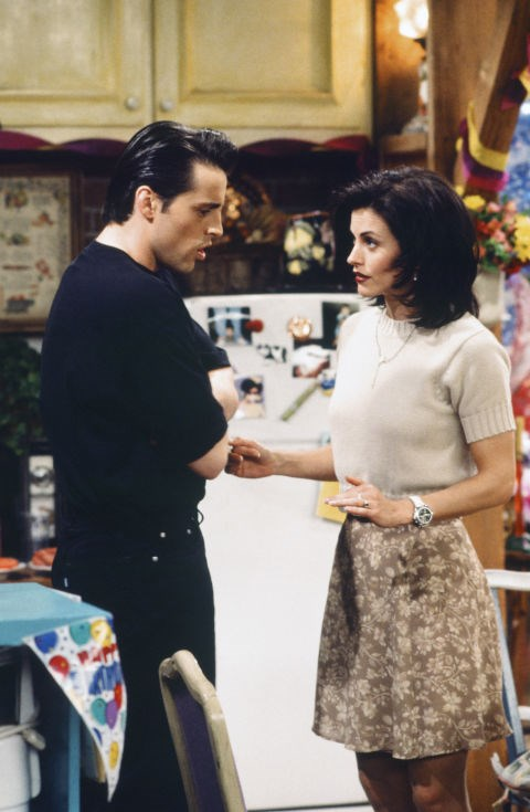 **The one with the short-sleeved knit**   Short-sleeved knits are totally in style right now - so it seems Monica was ahead of her game back in 1995.