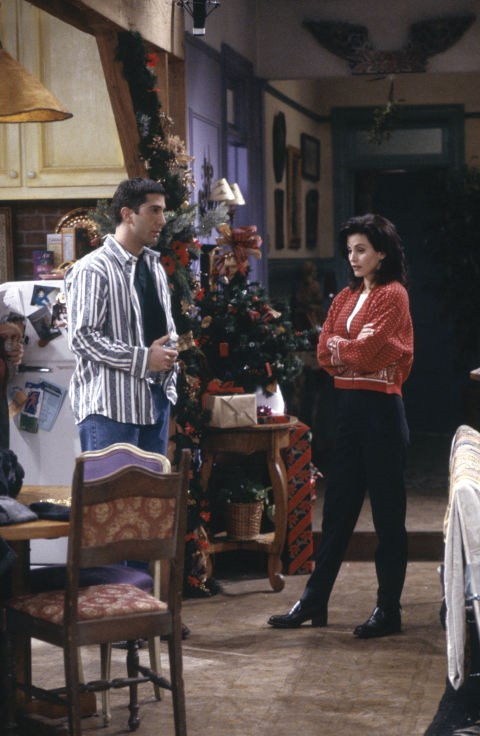 **The one with the Christmas knit**   Back when retro Christmas jumpers weren't ironic - Monica wore this red and white number.